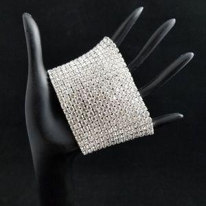 15 Row Rhinestone stretch cuff Bracelet
